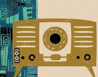 Retro Radio Greetings Card