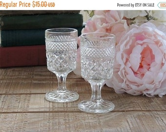 ON SALE Anchor Hocking Wexford Stemmed Shot Glasses Set of 2 Cordial Glasses Vintage Glassware, Stemware Pressed Glass