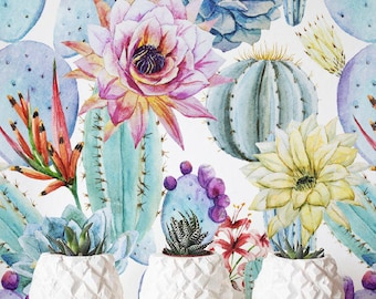 Removable  Self-adhesive Wallpaper, Watercolor Cactus Wallpaper  Floral Wall Décor, Flower Wallcovering - JW019