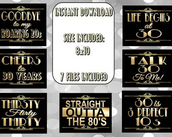 PRINTABLE 30th Birthday signs,Gatsby party decoration, Roaring 20s Art deco,Wedding Sign, Wedding Decor, Over the Hill, DIRTY 30
