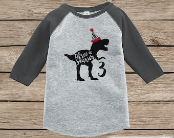 Dinosaur Birthday Shirt - Boys Third Birthday Dino Tshirt - Dino Birthday Shirt - Grey Raglan Dinosaur 3rd Birthday Shirt - Threeasaurus
