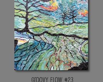 Groovy flux acrylique abstrait peinture #23 prêt à accrocher 10 x 10