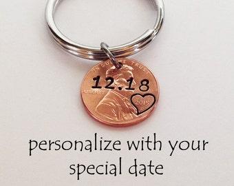 Anniversary Keychain Anniversary Gifts Boyfriend Gift Anniversary Gifts for Boyfriend Anniversary Gift for Men Husband Gift Penny Keychain