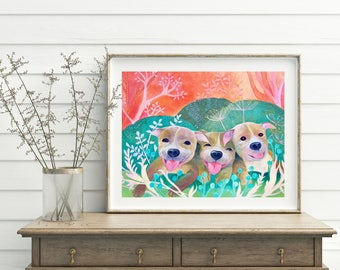 Three Happy Pitties, , Digital download-only image, Printable art, Dog print, Handmade, All the proceeds will be donated to rescue orgs