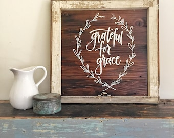 GRATEFUL for GRACE- Reclaimed Barn Wood Sign- Antique Window Frame- In Stock- OOAK