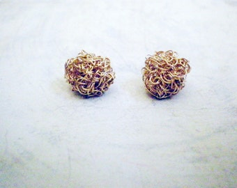 Small crochet gold filled post earrings