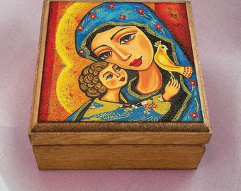 Madonna and child, Virgin Mary and Jesus painting, mother box, mother child, keepsake box, christian box, jewelry box, 3.5x3.5+