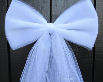 Tulle Pew Bow | White or Ivory | Optional Silver or Gold Bling | Wedding Ceremony Decoration | Church Aisle Chair | Party Baby Girl Shower