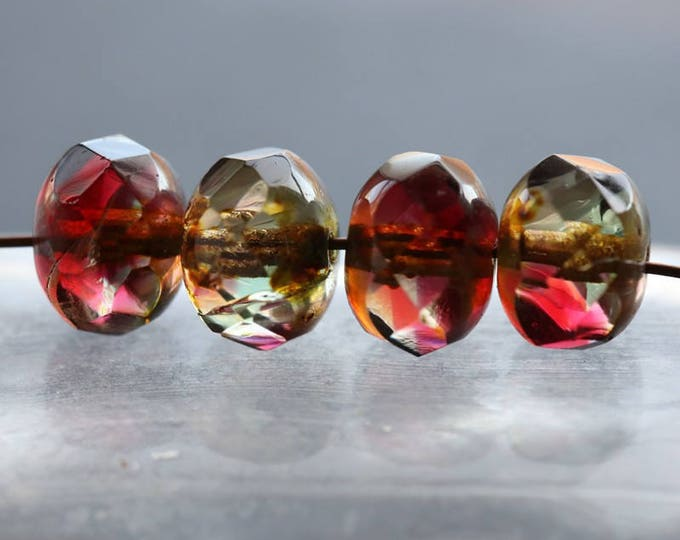 FUCHSIA .. 10 Picasso Czech Rondelle Glass Beads 6x8mm (6101-10)