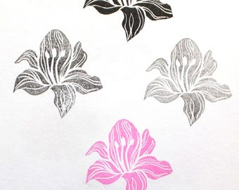 Hand carved rubber stamp lily