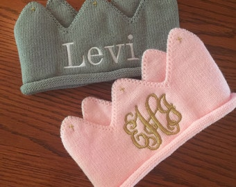 Knit Baby Crowns- Monogrammed Crowns for Infants