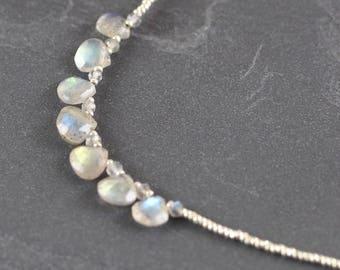 Labradorite, Czech Seed Bead & Sterling Silver Necklace. Flashy Blue Green Gemstone Bib Necklace. Beaded Layering Jewelry. Boho Jewellery