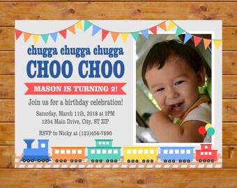 Train Birthday Invitation - Chugga Chugga Choo Choo Train Invitation - Photo Birthday Invitations Boy - Printable, Custom, Digital File
