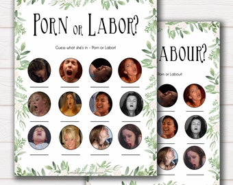 Porn or Labour Game, Labor or Porn Baby Shower Game, Porn or Labor, Labour or Lovin Baby Shower Game, Greenery Baby, Porn or Labor Game GL18