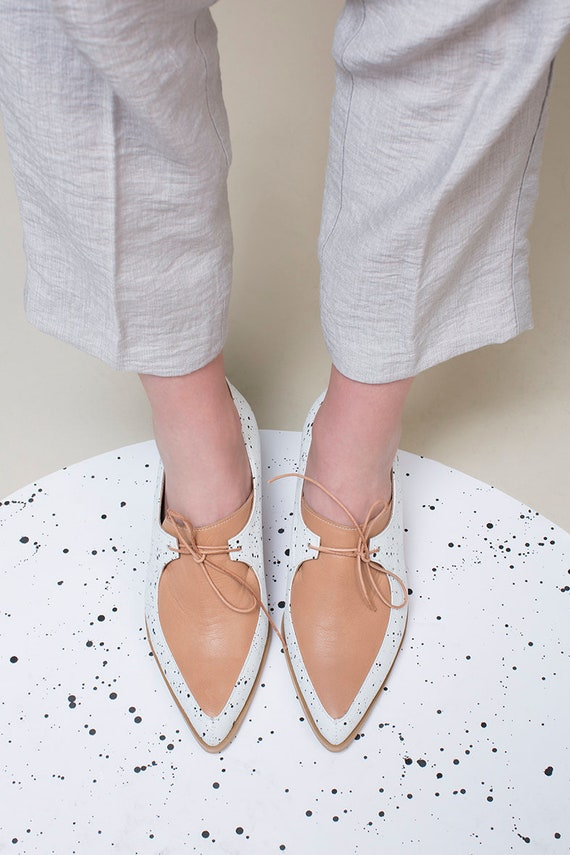 Custom Shoes Pointy and Made Leather Comfortable Leather Shoes Brown Handmade Shoes White Oxford Shoes Shoes Leather Oxford Flat wq6xaw4F7f