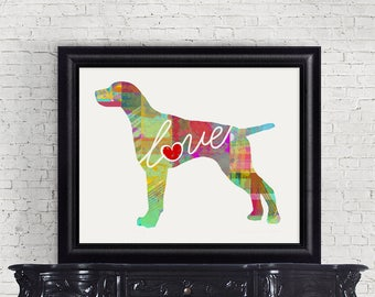 German Shorthaired Pointer - A Colorful Watercolor Print for Dog Lovers - Dog Breed Gift - Personalized - Pet Memorial - Pet Loss Gift