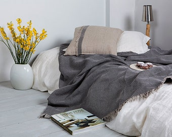 Linen Throw-Linen Throw for bed and sofa with Jacquard weaving-Linen Bedspread-Linen blanket-Heavy linen blanket-Available in any sizes.