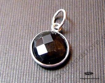2 pcs 10mm Smoky Quartz Sterling Silver Bezel Gemstone Wrap Pendant F403S