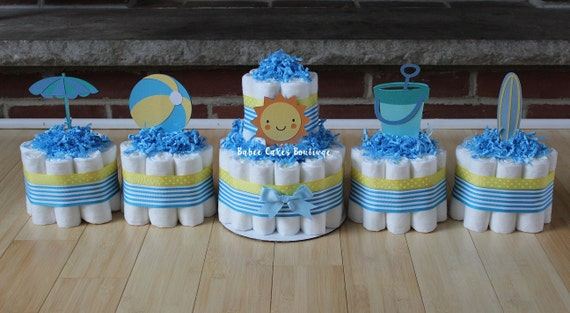 Baby Shower Cakes Beach Theme ~ Items similar to set of 5 beach theme diaper cakes sunshine pail