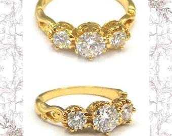 18K Engagement Ring, 3 Diamonds 18K Filigree Gold Stunning Engagement Anniversary Ring, • 73 Ct, G Col, VSI, Size K, Heirloom, Layby, GIFT
