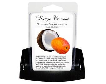 MANGO COCONUT Soy Melts - Wax Tarts - Soy Tarts - Melting Tart - Scented Tart - Tart Melt - Wax Melt - Clamshell - Dye Free