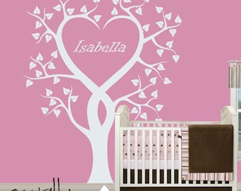 """White Tree Wall Decals Wall Sticker with name Tree Wall Sticker Wall Art Unique Nursery Decal Large: approx 75"""" x 65"""" - W006"""