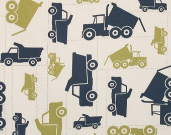 "TOY TRUCKS Premier Prints Fabric By The Yard Decorator Fabric Felix Blue Natural  54"" wide By The Yard Fast Shipping"