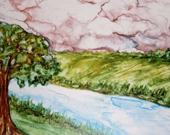 The Rippling Stream PRINT watercolor,  of my original painting, available in two sizes 5 x 7 or 8 x 10