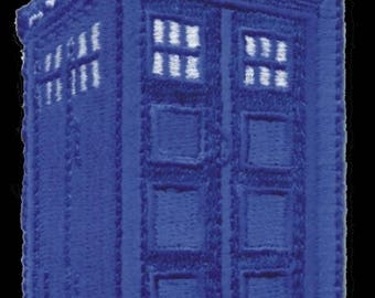 Dr. Who Tardis patch - iron-on 3 inch x 2 inch patch