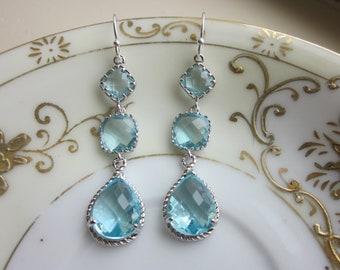 Aquamarine Earrings Silver Aqua Blue - 3 tier Sterling Silver - Bridesmaid Earrings - Wedding Earrings - Valentines Day Gift - Gift under 50