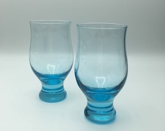 Pair of Eva Zeisel designed Silhouette juice glasses for Bryce in cerulean blue