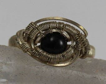 Onyx cabochon ring size 6 in sterling silver wire wrapped ring