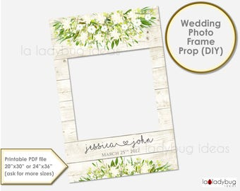 Wedding photo frame prop.  Ivory Wedding photo prop. DIY PDF Printable file. Custom Floral rustic wedding prop, Ivory. for selfie station