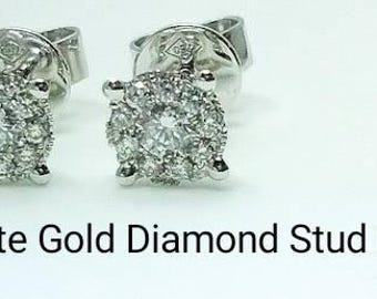 18ct 18K 750 White Gold Natural Round Brilliant Cut Diamond Stud Earrings Jewellery - DS5