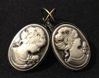 Earrings, earrings, cameo, cameo earrings, Joce150652creaconcep earrings cabochon, cabochon resin cameo 25 x 18 mm oval cabochon