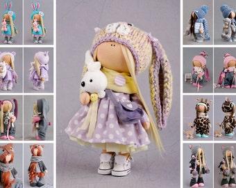 Nursery decor doll handmade doll Tilda doll Interior doll Art doll purple doll rag doll soft doll Fabric doll Cloth doll Baby doll by Alena