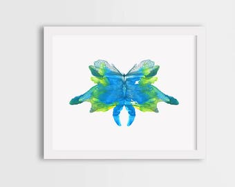 Watercolor butterfly art, colorful butterfly print, blue butterfly painting, butterfly illustration