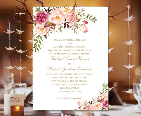 Design Your Own Wedding Invitations Template: Printable Wedding Invitation Template Romantic
