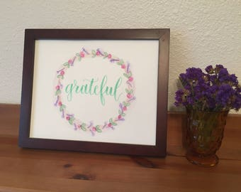 Hand Lettered Wreath Artwork: 'Grateful' | brush pen lettering calligraphy drawing home decor classic wall art original watercolor paint