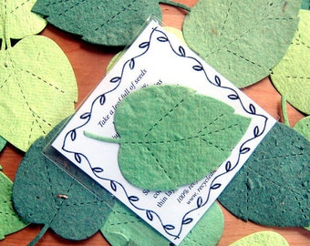 100 Plantable Flower Seed Paper Leaf Package Wedding Favors - with cards and envelopes - Emerald Forest Green Kelly Kiwi