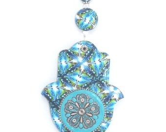 Hamsa, unique handmade wedding gift, house warming gift, blue evil eye mandala decoration, polymer clay beads craft, stocking stuffer