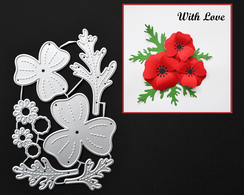 Poppy flowers metal cutting die leaf stencil flowers template metal sold by angelacraftsupply izmirmasajfo