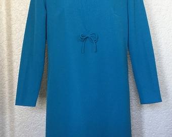 Gorgeous Vintage Bright Sky Blue 1960's Shift Dress UK 12. Excellent Condition!