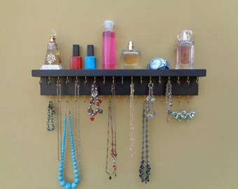 Lots of other Color Choices - Jewelry Holder - Necklace Organizer - Jewelry Storage - Top Shelf - 35 Display Hooks - Ready To Hang