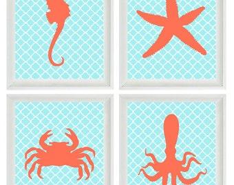 Nautical Nursery Sea Creature Art Print Set - Beach Children Crab Octopus Starfish Seahorse Aqua Orange - Wall Art Home Decor Set