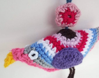 Crochet bird. Home decoration.