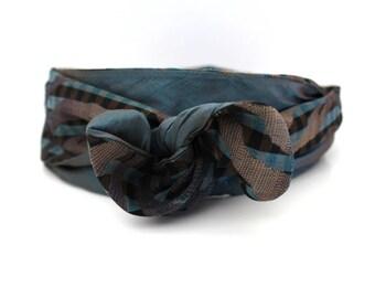Long rigid headband turquoise and Brown