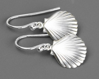 Sterling Silver Shell Earrings - Drop Earrings - Nautical Earrings - Beach Jewelry