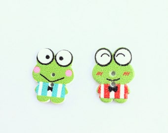 Frog Button - Craft Supplies, Notions, Embellishment Flat Back Button - Shankless Button - Cute Frog Wooden Button - Green Animal Button