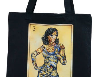Lightweight Black Tote, Image of Woman On Playing Card